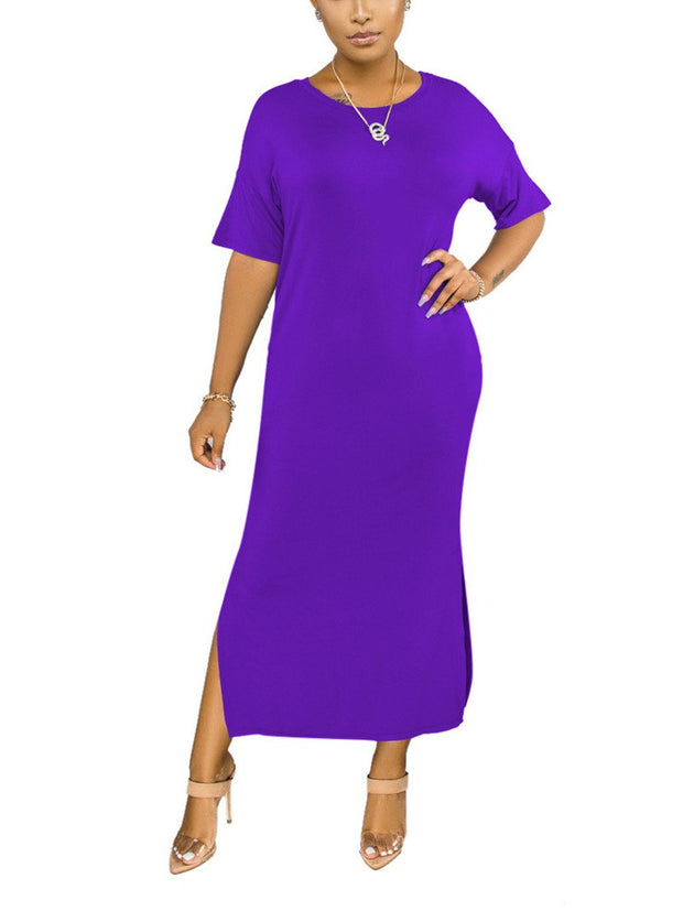 Women Short Sleeve Scoop Neck Solid Color Basic Maxi Dress