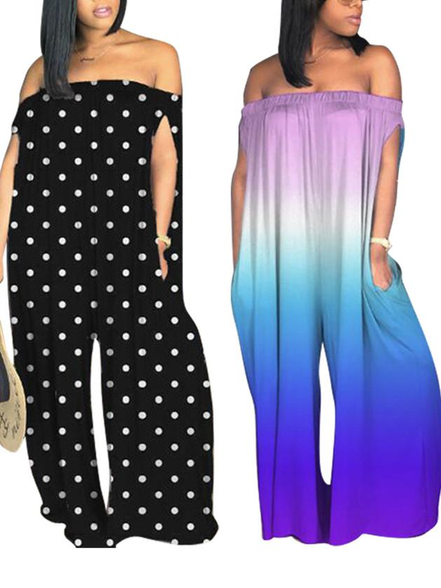 Women Off-shoulder Colorblock Gradient Printed Jumpsuit With Pockets