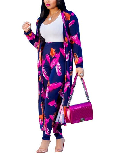 Women Long Sleeve Floral Leopard Printed Club 2 Pieces Sets