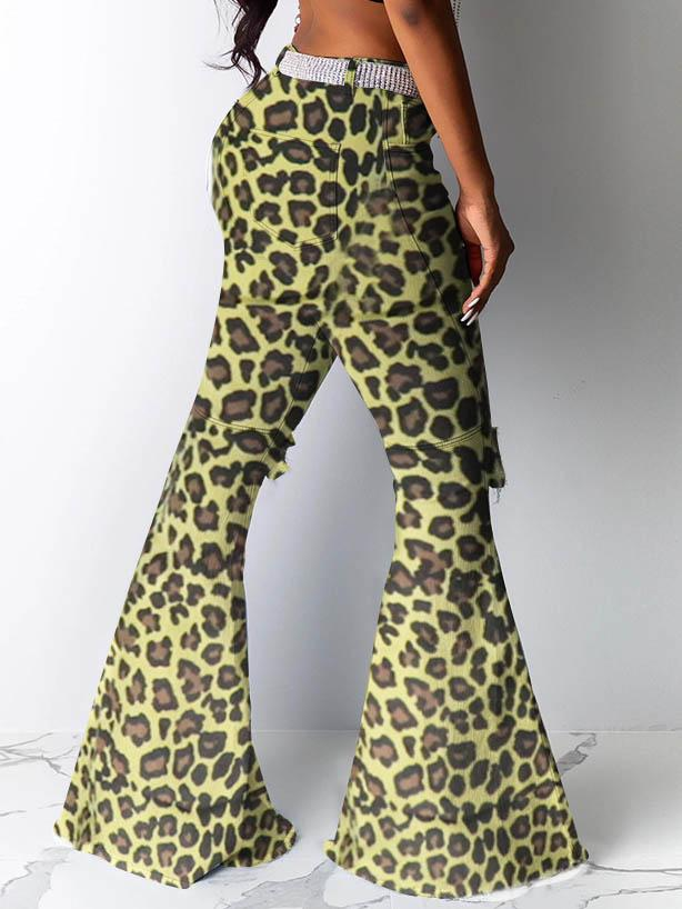Women Camouflage Leopard Print Hole Flared Pants
