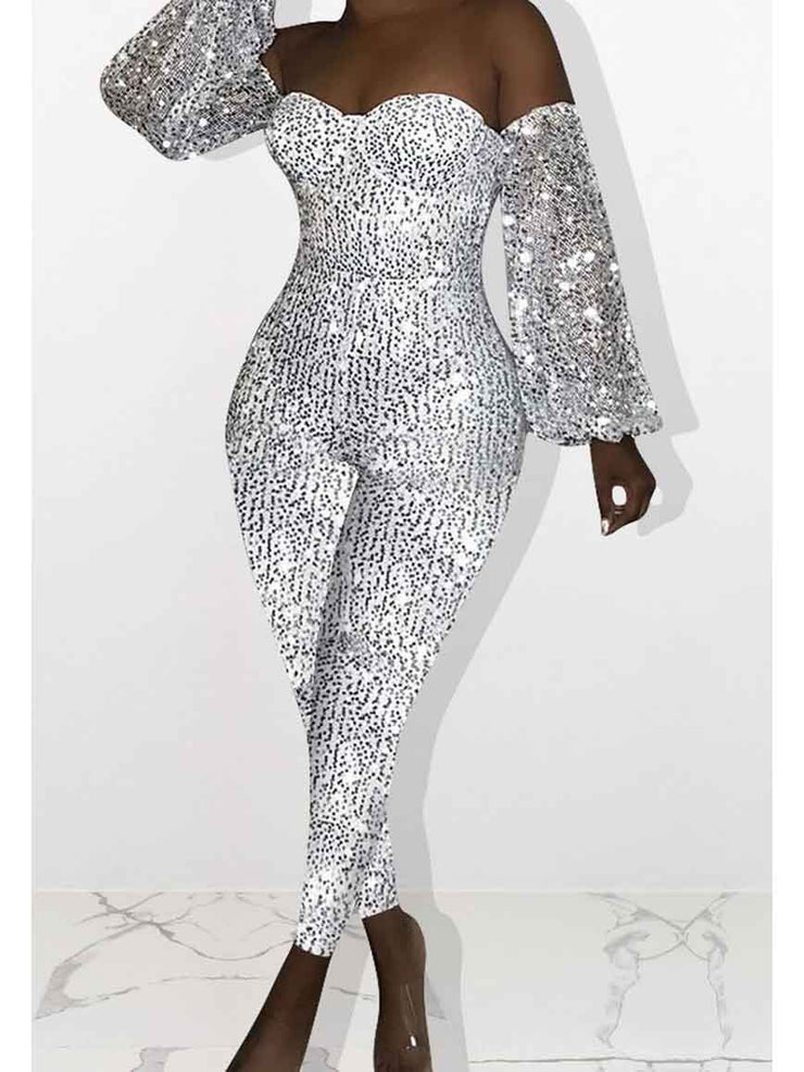 Women Sequined Long Sleeve Off Shoulder Club Jumpsuit