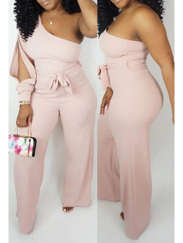 Women One Shoulder Belted Wide Leg Solid Color Jumpsuit