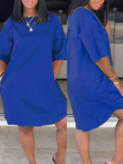 Women Round Neck Short Sleeve Solid Color Mini Dress with Pockets