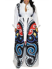 Women Long Sleeve Button Up Butterfly Printed Maxi Dress