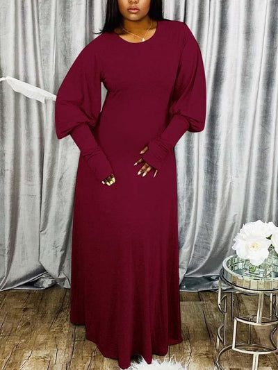 Women Long Puff Sleeve Round Neck Solid Color Maxi Dress