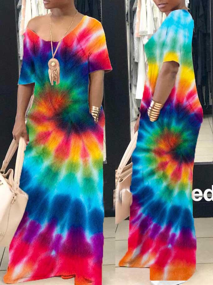 Women Short Sleeve V-neck Tie-dyed Printed Maxi Dress