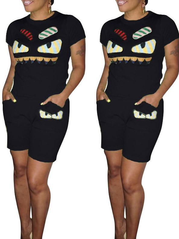 Women Two Pieces Monster Printed Round Neck Short Sleeve Top with Shorts