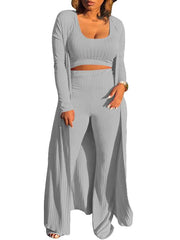 Women Three Pieces Round Neck Sleeveless Knit Vest and Long Sleeve Cardigan with Wide Leg Pants