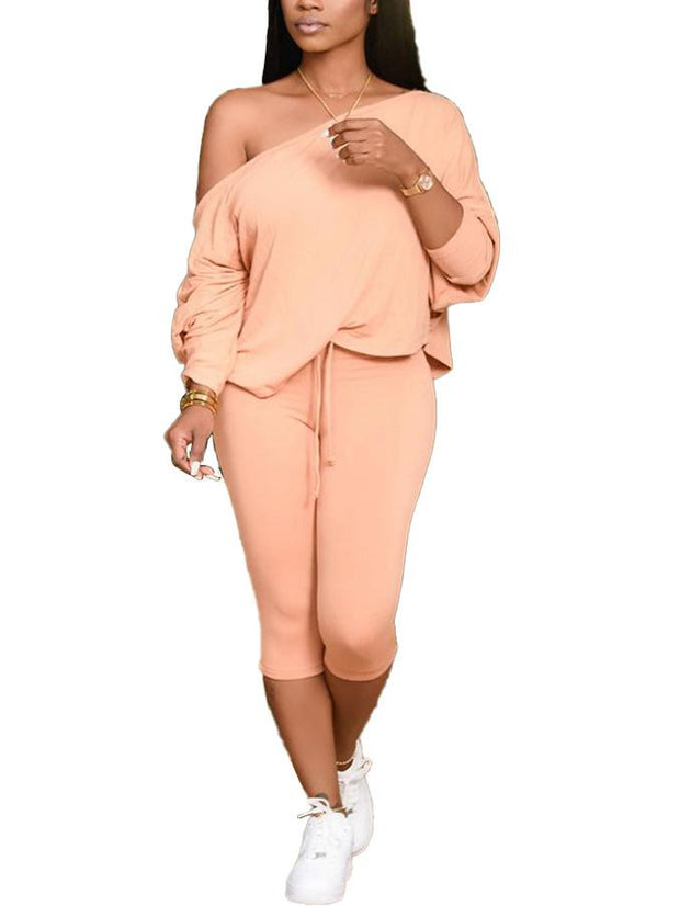 Women Long Sleeve Scoop Neck Tops And Seventh Pants