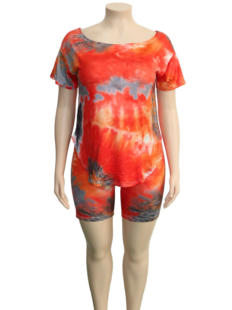 Women Short Sleeve Scoop Neck Gradient Printed Tops And Fifth Pants