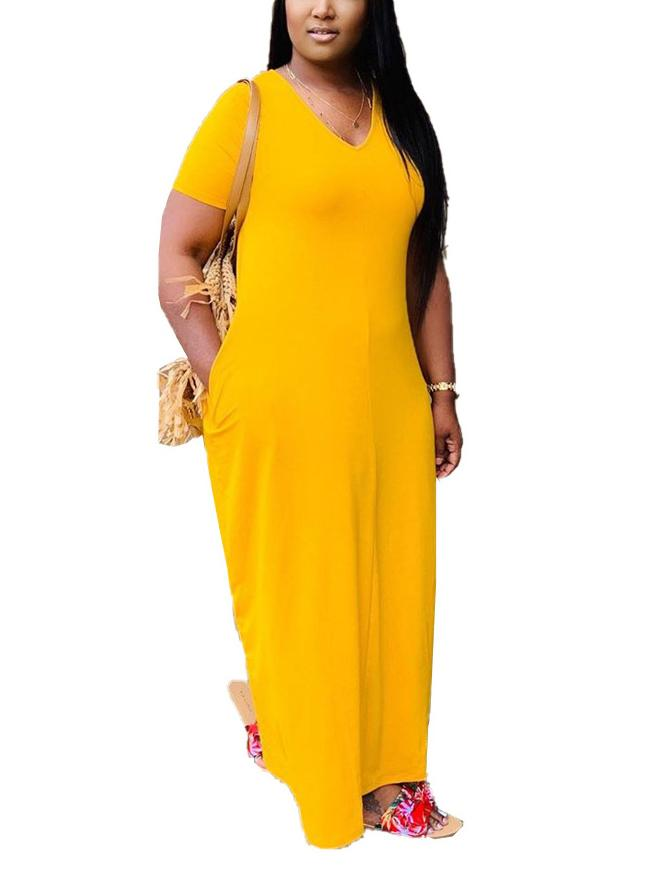 Women Short Sleeve V-neck Solid Midi Dress With Pockets