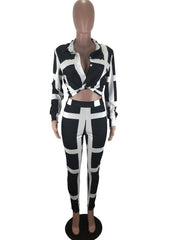Women Long Sleeve Shirt Collar Striped Printed Tops And Pants