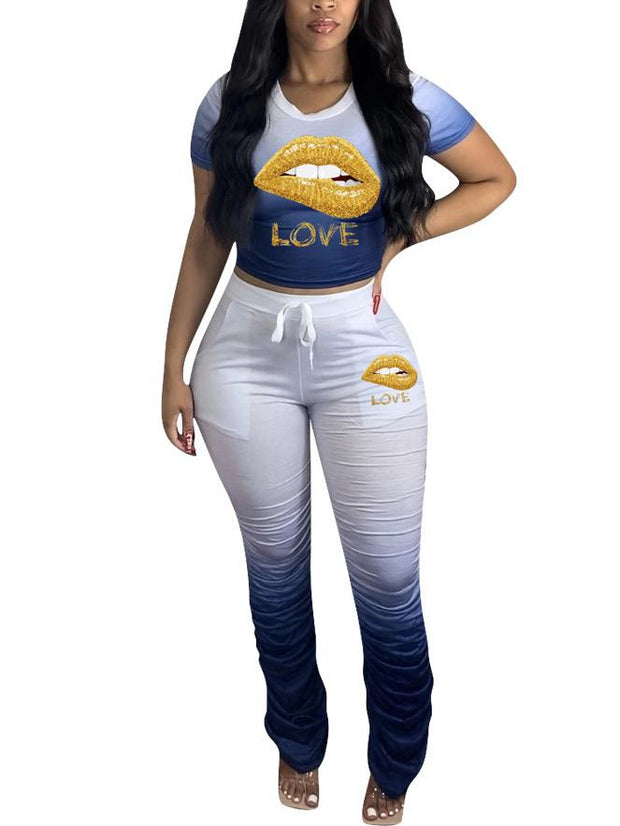 Women Short Sleeve Scoop Neck Lips Printed Tops And Pants