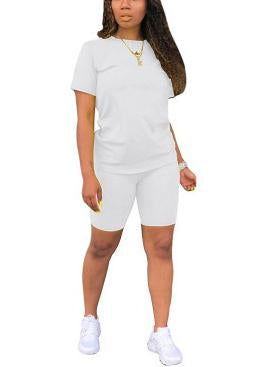 Women Solid Short Sleeve Scoop Neck Sets