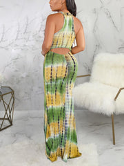 Women Sleeveless Scoop Neck Colorblock Printed Maxi Dress