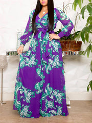 Women Long Sleeve V-neck Floral Printed Maxi Dress