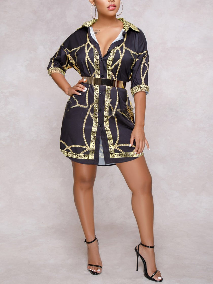 Women Half Sleeve Shirt Collar Printed Mini Dress