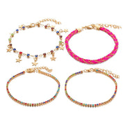 Bohemian Beach Geometric Small Round Natural Shell Braided Rope 5-piece Set Anklet