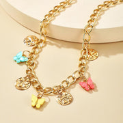 Exaggerated Geometric Necklace Female Color Acrylic Butterfly CubanWholesale Cheap Jewelry