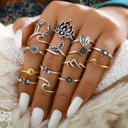 15 Pieces Geometric Animal Leaf Flower Shaped Joint Rings Set Wholesale Cheap Jewelry