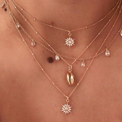 3-PCS Clavicle Three-Pointed Pendant Necklace Wholesale Cheap Jewelry