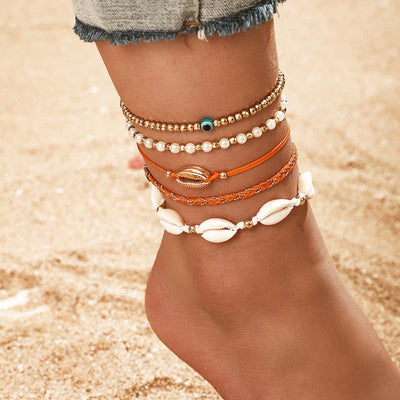 4-Piece Set Of Boho Beach shells Fish Anklet Wholesale Cheap Jewelry