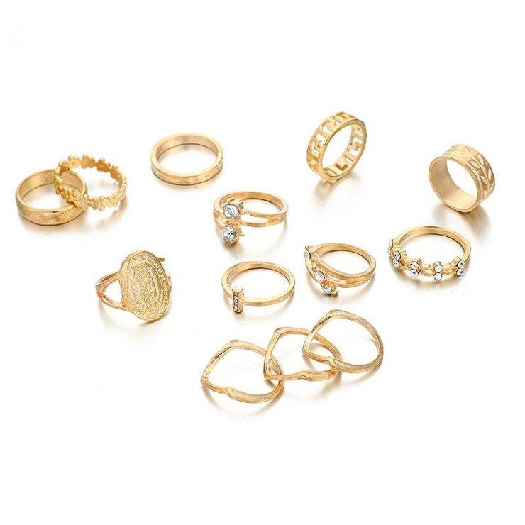 Round Piece Diamond Hollow 13-piece Joint Rings Set Wholesale Cheap Jewelry