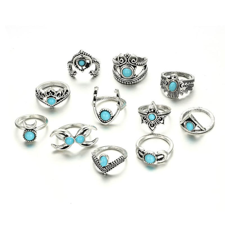 11-Piece Geometric Hollow Moon Peach Heart Lotus Ring Wholesale Cheap Jewelry