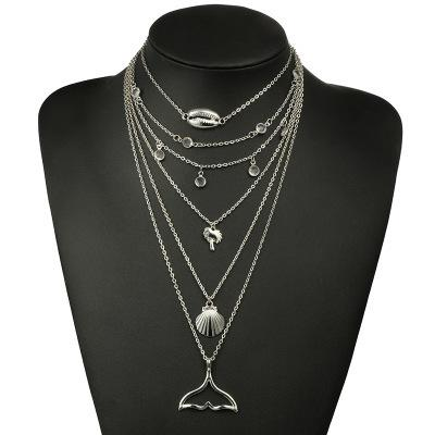 Multi-layer Alloy Necklace with Shell Fish Tail Wholesale Cheap Jewelry