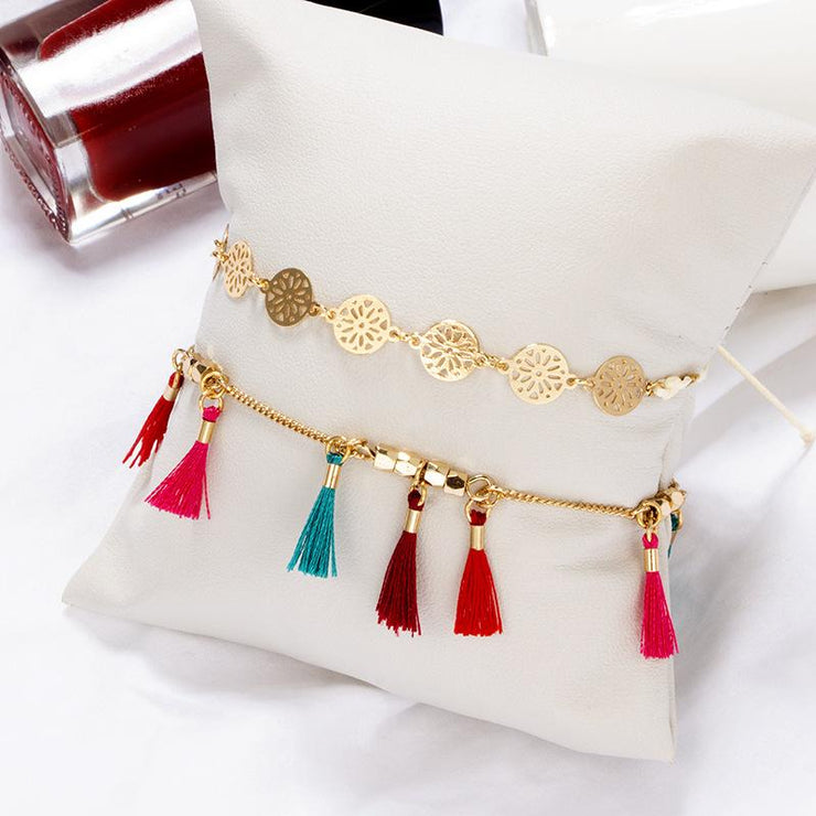 Butterfly Anklet with Tassel and Rose Alloy Wholesale Cheap Jewelry