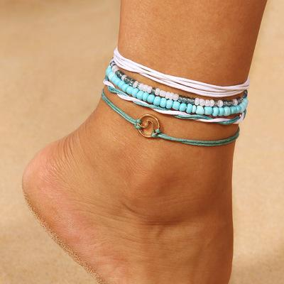 Bohemian Green Beads Anklet Wholesale Cheap Jewelry