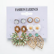 Bohemian Ethnic Flowers Pearl Leaves Earrings Wholesale Cheap Jewelry