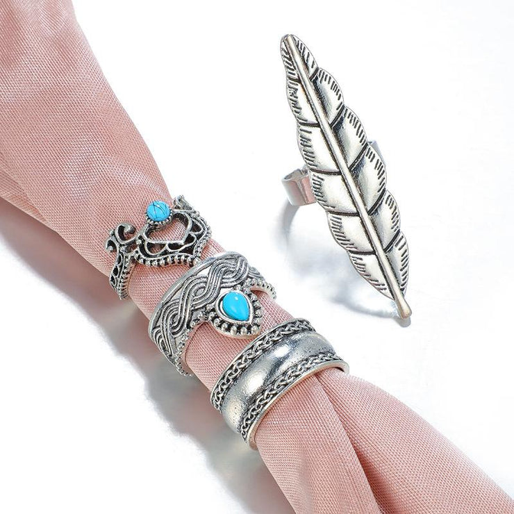 4-piece Turquoise Vintage Ethnic Carved Crown Ring Feather Rings Set Wholesale Cheap Jewelry
