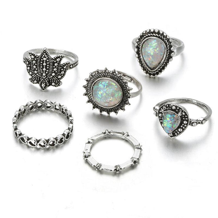 6-piece Hollow Love Ring Drop-Shaped Lotus Rings Set Wholesale Cheap Jewelry