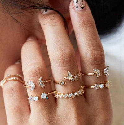 6-piece Butterfly Flowers Rings Set Wholesale Cheap Jewelry