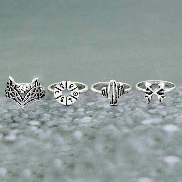 Vintage Cactus Elephant Rings Set Wholesale Cheap Jewelry