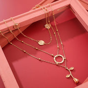 Rose Flower Disc Geometry Necklace Wholesale Cheap Jewelry