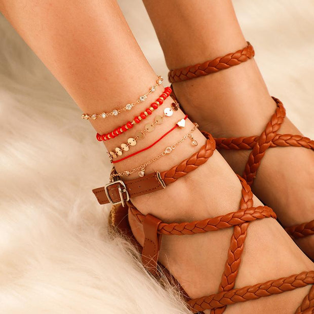 Love Tassel Disc Anklet Wholesale Cheap Jewelry