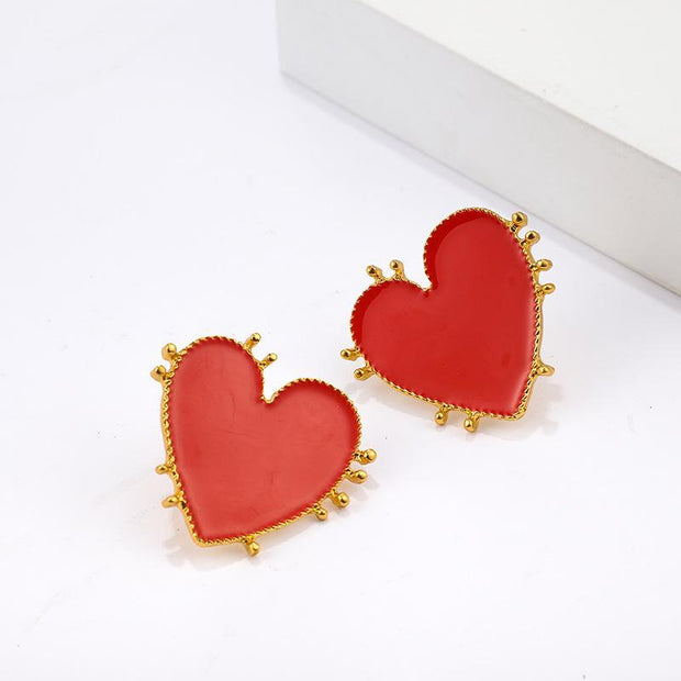 Wholesale Cheap Jewelry Red Big Love Earrings