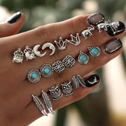 Wholesale Cheap Jewelry Moon Owl Feather Crown Elephant Ring