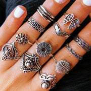 Wholesale Cheap Jewelry Wings Shell Compass Ethnic Ring