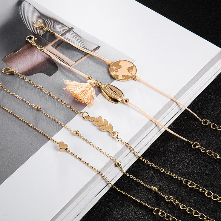 4 Piece Map Love Bracelet Shell Tassel Bracelet Wholesale Cheap Jewelry