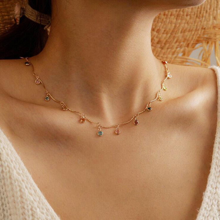 Bohemian Colored Droplets Alloy Tassel Multilayer Necklace Wholesale Cheap Jewelry