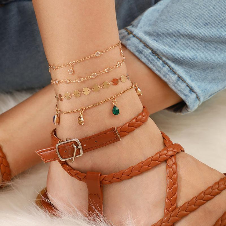 Bohemian Sea Shell Handmade Multilayer Tassels Anklet Wholesale Cheap Jewelry