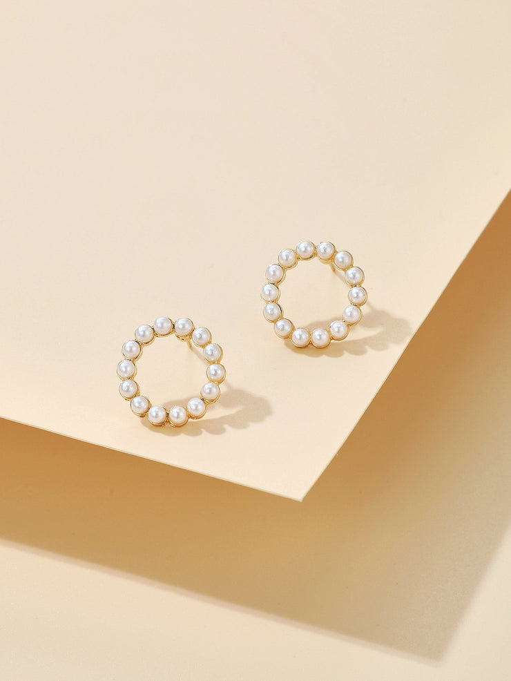 Pearly Small Round Beads Earrings Wholesale Cheap Jewelry