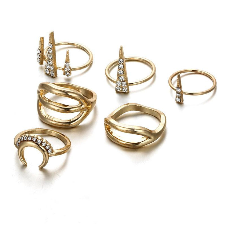 6 Piece Set Coin Geometric Inline Ring Wholesale Cheap Jewelry