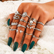 15 Piece Set Ethnic Style Geometric Gem Ring Wholesale Cheap Jewelry