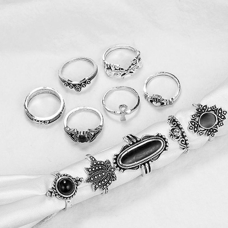 11 Piece Set Black Jewel Elephant Lotus Crown Cross Ring Wholesale Cheap Jewelry