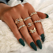 7 Piece Set Bow Leaves Ring Wholesale Cheap Jewelry