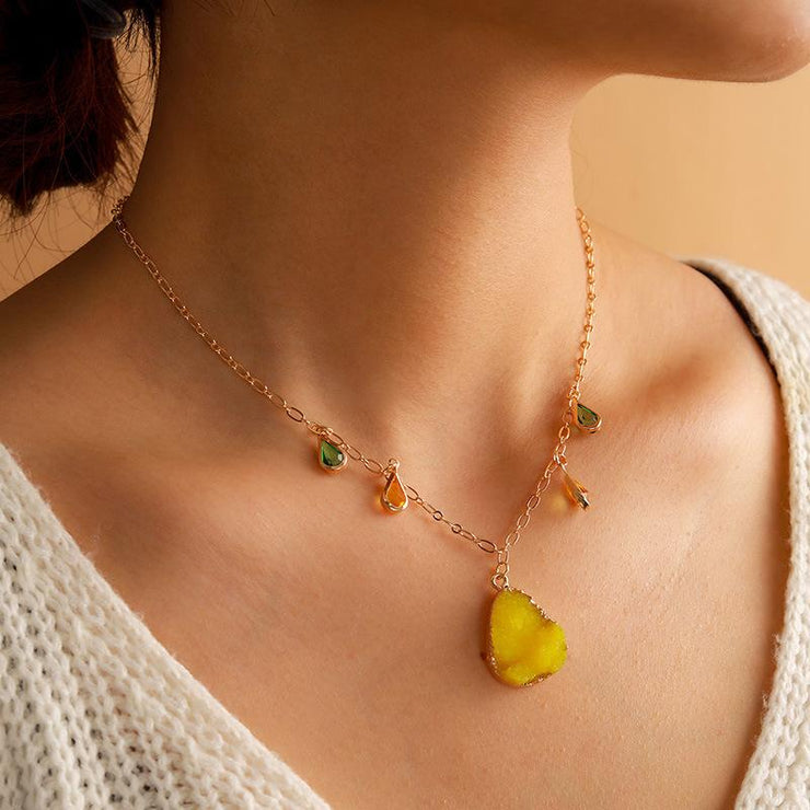 Yellow Natural Stone Alloy Pearl Necklace Wholesale Cheap Jewelry
